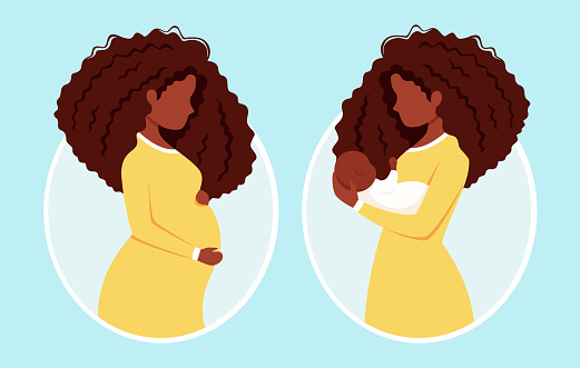 Pregnant black woman. Afro american woman with newborn. Pregnancy, motherhood. Vector illustration.