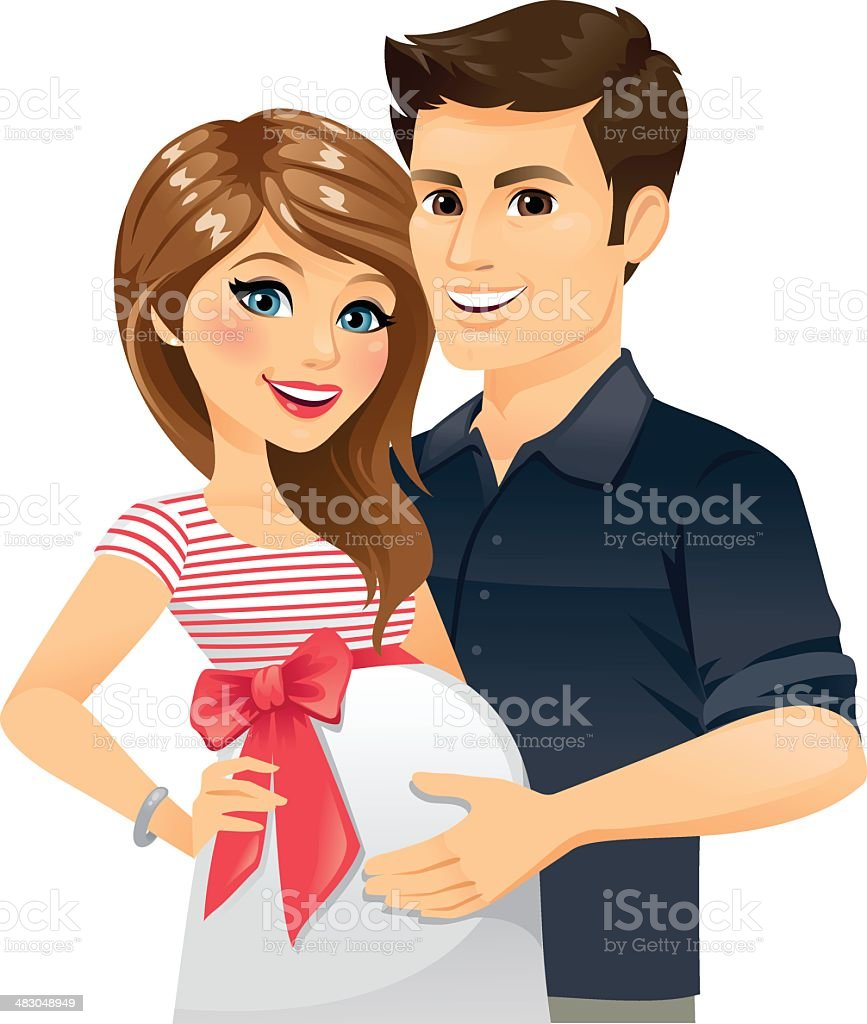 Pregnant Couple vector art illustration