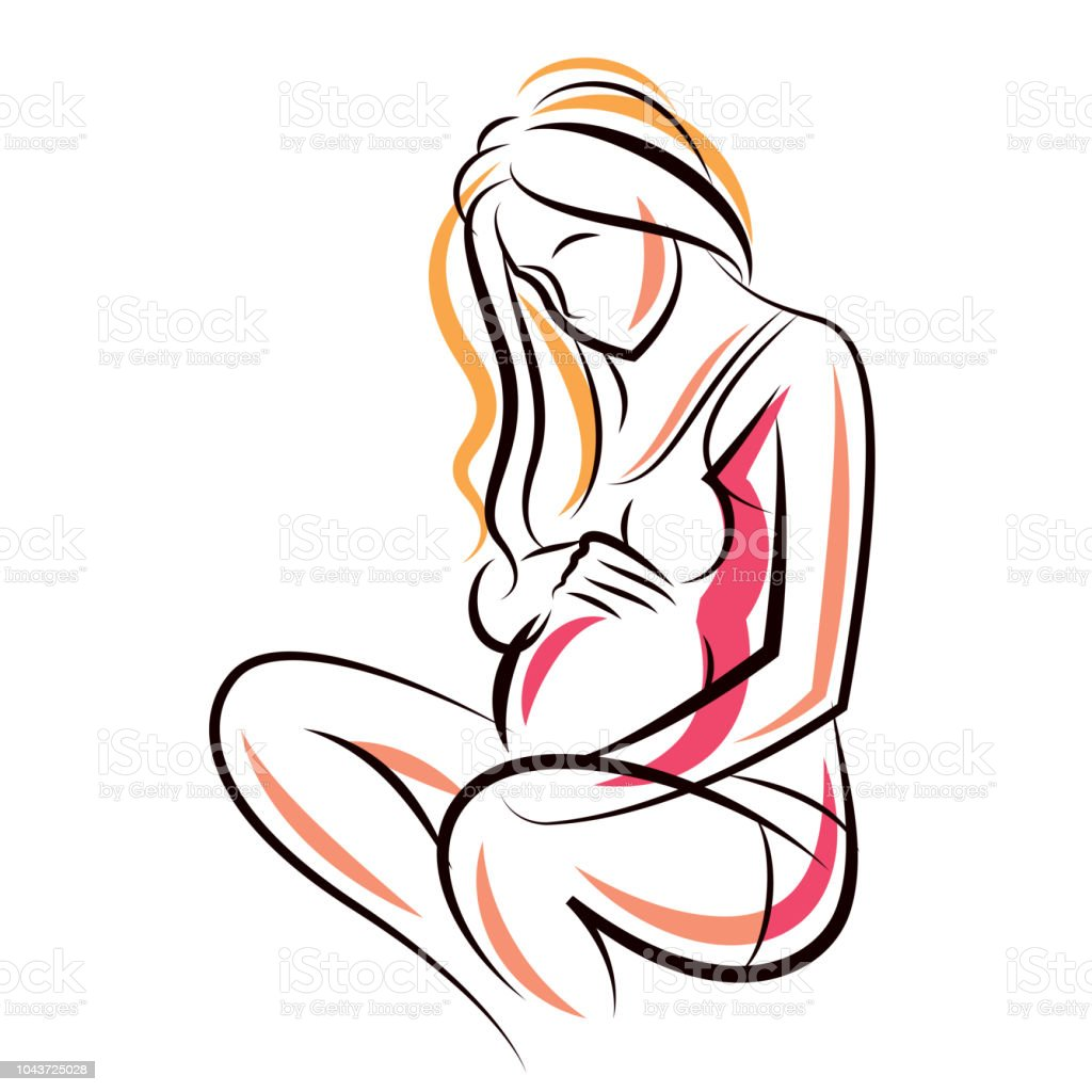 Pregnant Female Beautiful Body Outline Mothertobe Vector Drawn