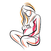 Pregnant female beautiful body outline, mother-to-be vector drawn illustration. Happiness and caring theme. Mothers day.