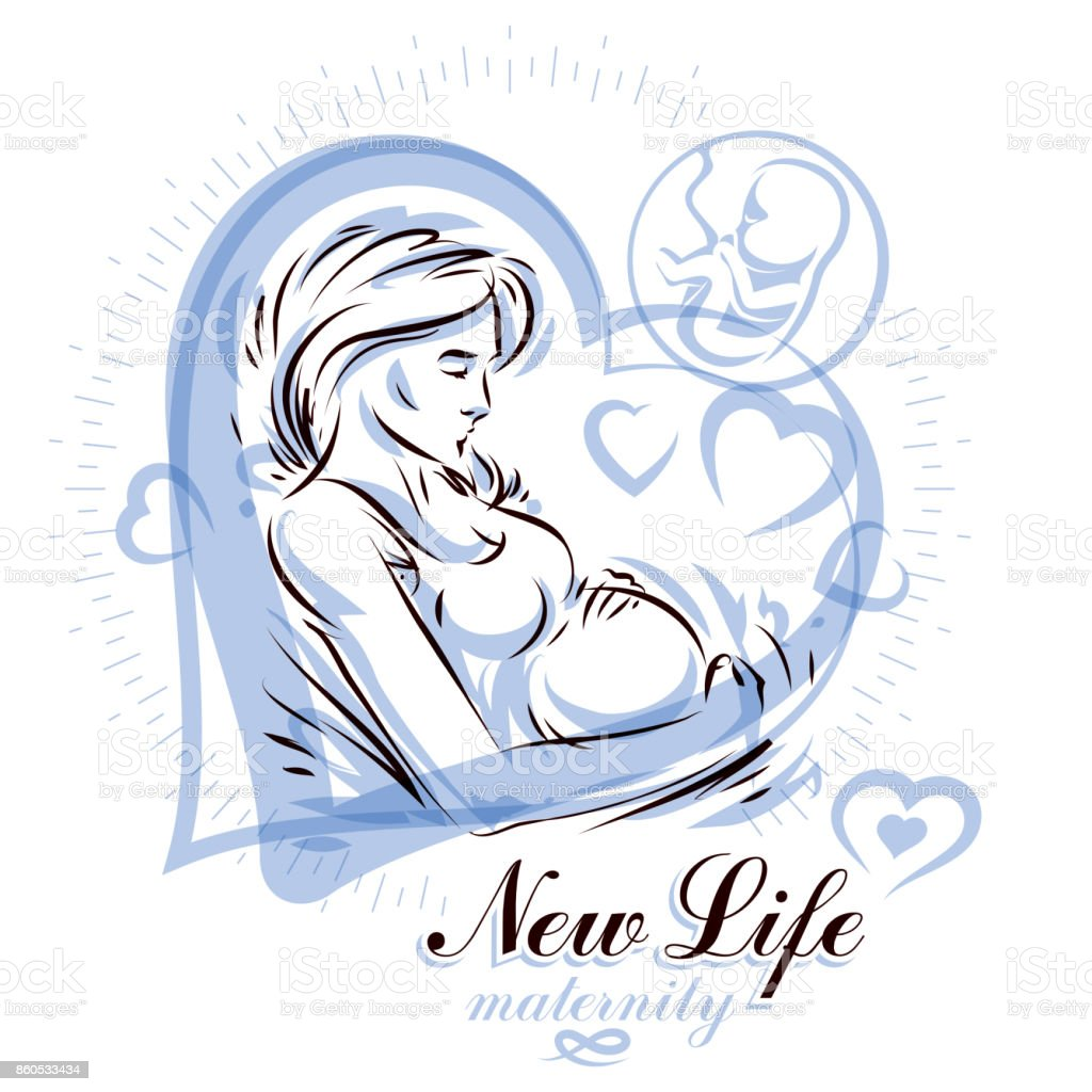 Pregnant female body shape hand drawn vector illustration, beautiful lady gently touching her belly. Prenatal center and motherhood preparing clinic promotion flyer vector art illustration