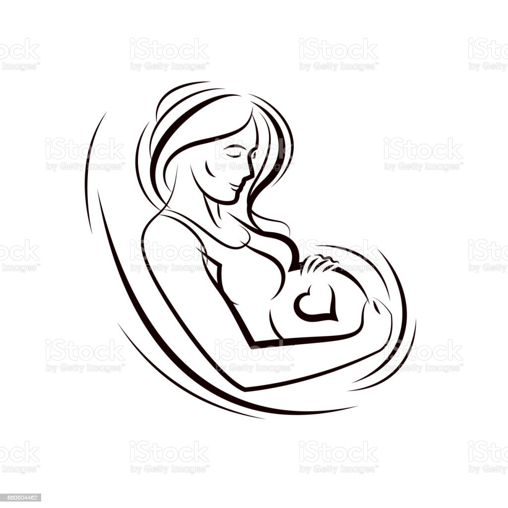 Pregnant female surrounded by heart shape frame hand drawn vector illustration, beautiful lady gently touching her belly. Love and tenderness concept. vector art illustration