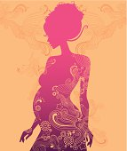 SIlhouette of a beautiful pregnant lady with pattern elements around. Eps and hi-res jpg, layers.