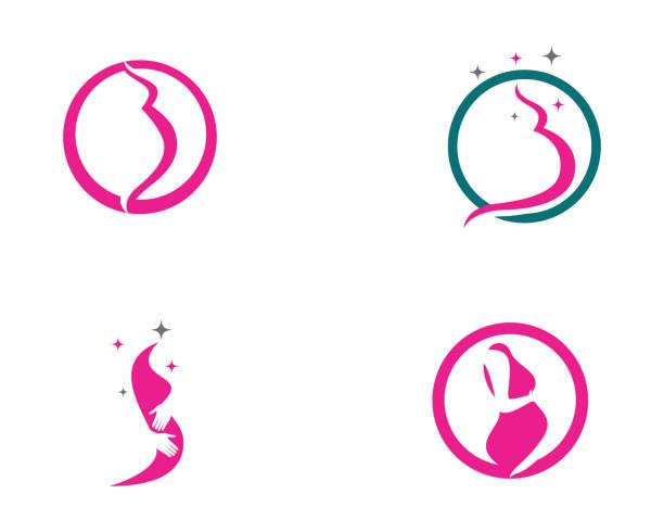 Pregnant logo template vector icon illustration design Pregnant logo template vector icon illustration design gynecology stock illustrations