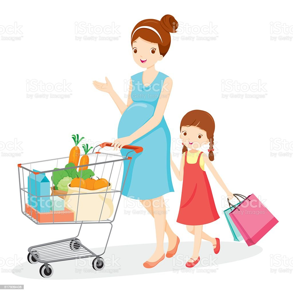 Pregnant Mom And Daughter Shopping Together Stock Vector ...