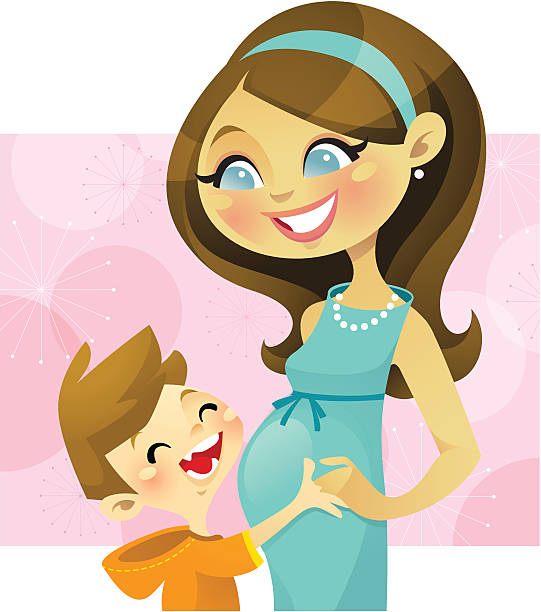 pregnant mother with boy - chihhang stock illustrations