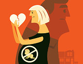 vector illustration of pregnant mother with broken heart and no baby warning sign