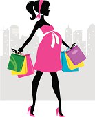 The silhouette of a fashionable pregnant woman shopping in an urban setting. Her shopping bags are easily removed in Ai. Change the colors of her clothing and shopping bags for a boy or a girl.
