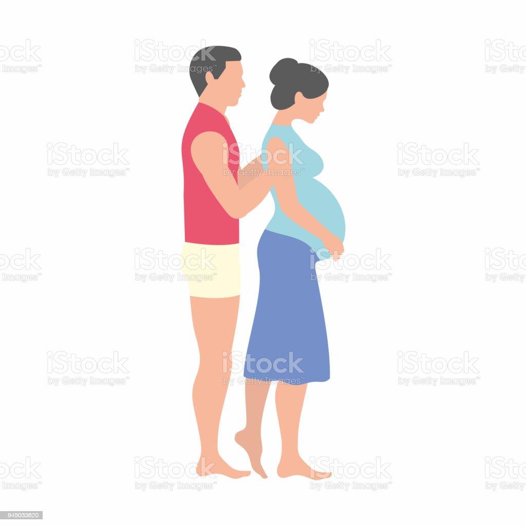 Hamile kadın ve kocası royalty free hamile kadın ve kocası stok vektör sanatı