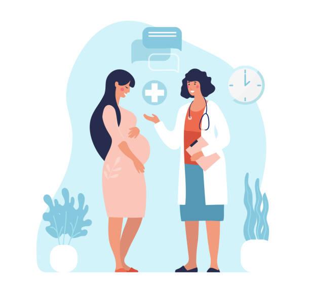 bildbanksillustrationer, clip art samt tecknat material och ikoner med gravid kvinna på läkarbesöket. en kvinna som väntar barn besöker en läkarmottagning, undersökning under graviditeten. platt vektorillustration i tecknad design. - allmänläkare