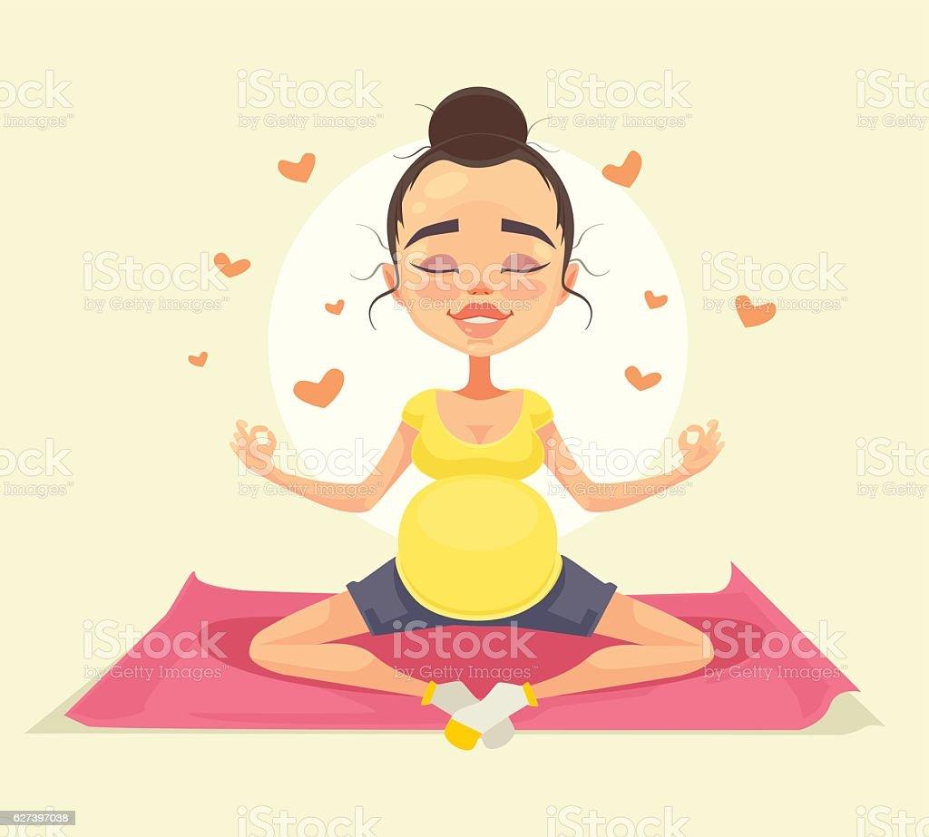 Pregnant Woman Character Doing Yoga Vector Flat Cartoon Illustration Stock Illustration Download Image Now Istock