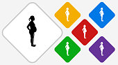 Pregnant Woman Color Diamond Vector Icon. The icon is black and is placed on a diamond vector button. The button is flat white color and the background is light. The composition is simple and elegant. The vector icon is the most prominent part if this illustration. There are five alternate button variations on the right side of the image. The alternate colors are red, yellow, green, purple and blue.