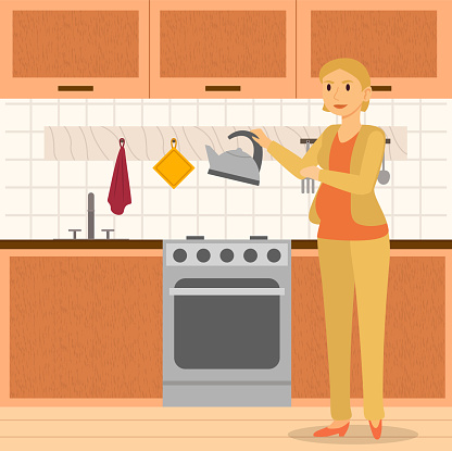 Pregnant Woman Cooking in Kitchen, Home Interior