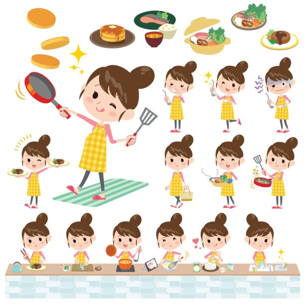 ilustrações de stock, clip art, desenhos animados e ícones de pregnant woman cooking - fail cooking