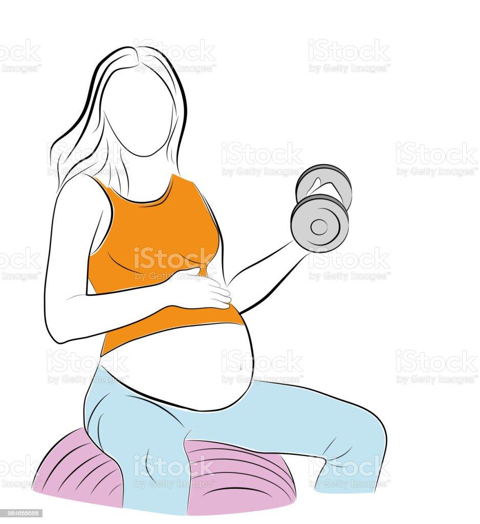 mujer embarazada haciendo ejercicios con pesas. sentado sobre una pelota de  gimnasia. Ilustración de e2864906c66c