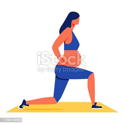 Pregnant Woman Doing Fitness on White Background. Sports Training for Women. Vector Illustration. Pregnant Woman in Blue Sport Suit on Yellow Carpet. Healthy Lifestyle. Fitness for Pregnant Women.