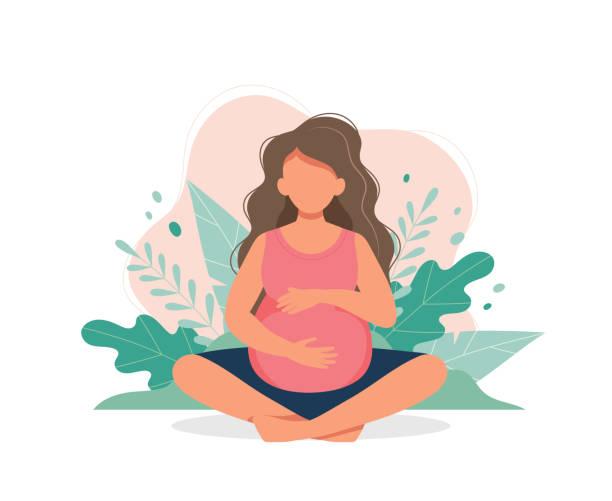Pregnant woman doing prenatal yoga. Pregnancy health concept. Cute vector illustration in flat style vector art illustration