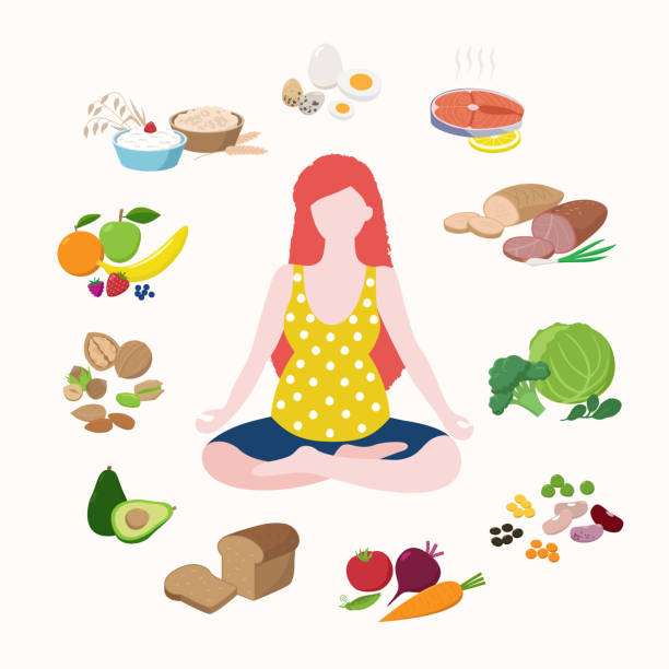 ilustrações de stock, clip art, desenhos animados e ícones de pregnant woman doing yoga in lotus position cute cartoon character isolated on light background. healthy food for good pregnancy set of icons in flat design. health care concept vector illustration - woman eating salmon