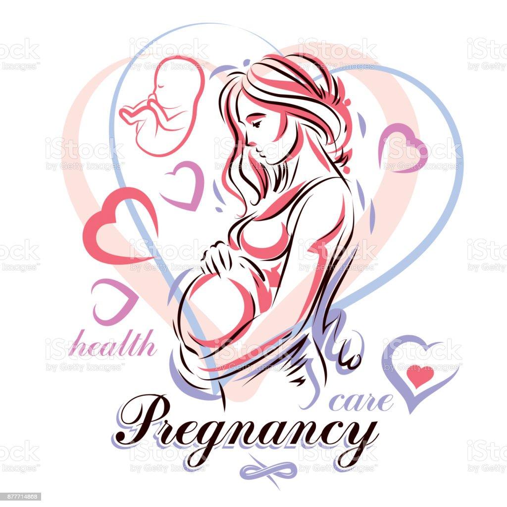 Pregnant Woman Elegant Body Silhouette Sketchy Vector