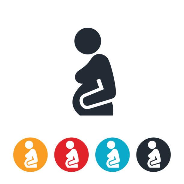 schwangere frau symbol - schwangerschaft stock-grafiken, -clipart, -cartoons und -symbole