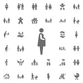 Pregnant woman icon vector illustration on white background. Set of family icons