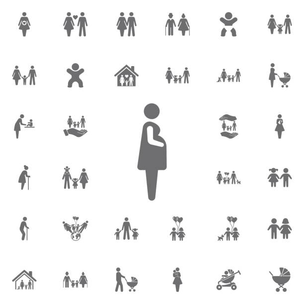 Pregnant woman icon vector illustration. Set of family icons vector art illustration