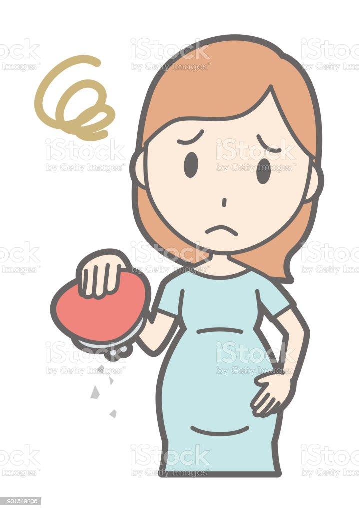 A pregnant woman in green dress has an empty wallet vector art illustration