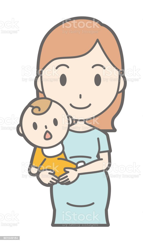 A pregnant woman in green dress holds her baby vector art illustration