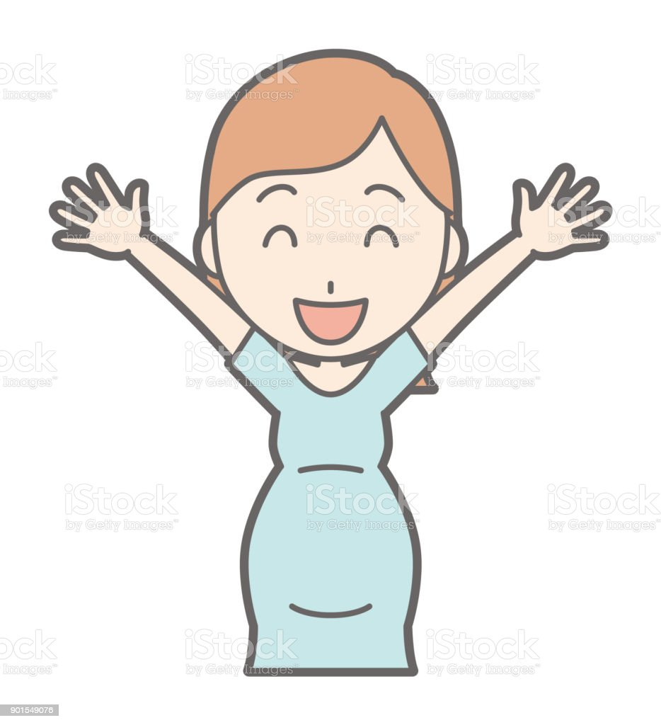 A pregnant woman in green's clothes raises her hands vector art illustration