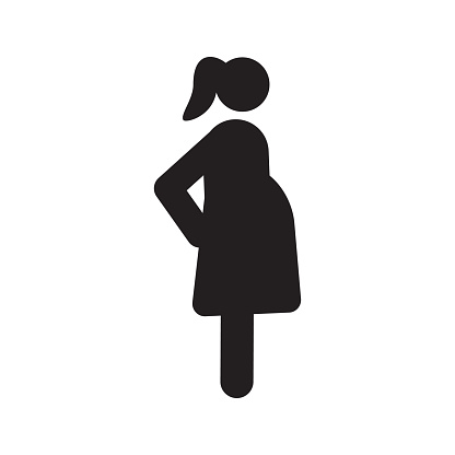 Pregnant Woman In Side View Silhouette Stock Illustration - Download Image Now