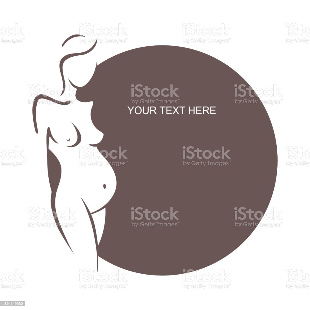 Pregnant woman is naked. Young girl - mother. Medical bulletin. Vector illustration, the form for the text. Flyer, banner, poster for design royalty-free pregnant woman is naked young girl mother medical bulletin vector illustration the form for the text flyer banner poster for design stock vector art & more images of abdomen