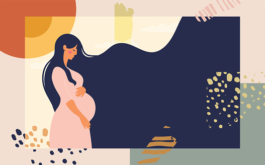 Pregnant woman. Modern collage on an abstract background. Bright conceptual flat illustration about motherhood and pregnancy. Stock vector