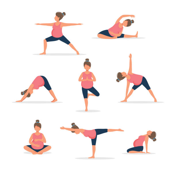 Pregnant woman practicing yoga, set of different poses. Healthy pregnancy. Vector illustration in flat style vector art illustration