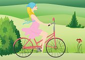 A pregnant young woman rides a Bicycle across the field. Vector illustration. Horizontal.