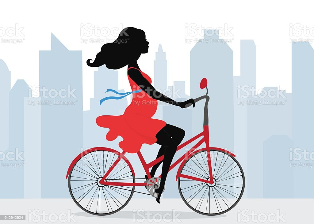 Pregnant woman rides  Bicycle on the background of the city vector art illustration