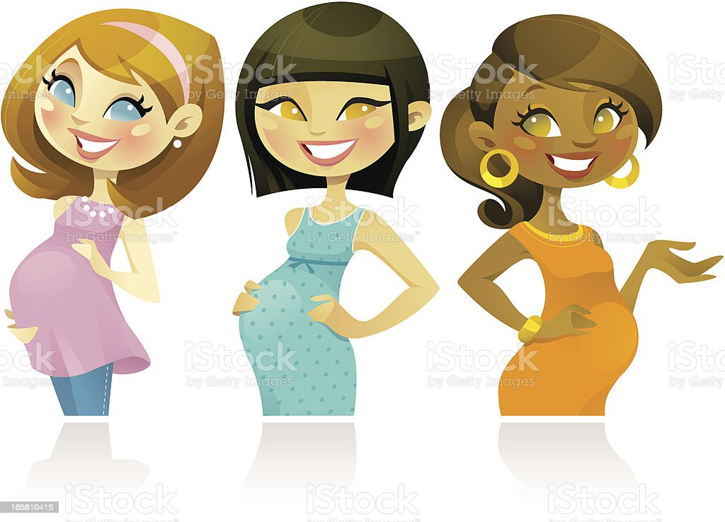 Pregnant Woman Set vector art illustration