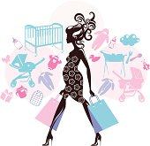 Pregnant woman shopping and baby-related items around. Eps and hi-res jpg.
