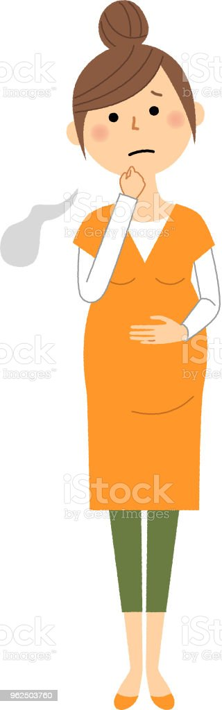 Mulher grávida, suspiro - Vetor de Adulto royalty-free