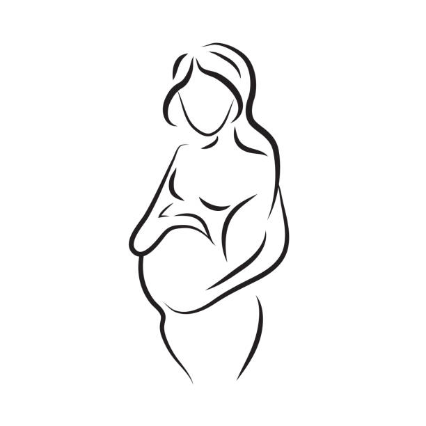 pregnant woman silhouette, isolated vector symbol vector art illustration