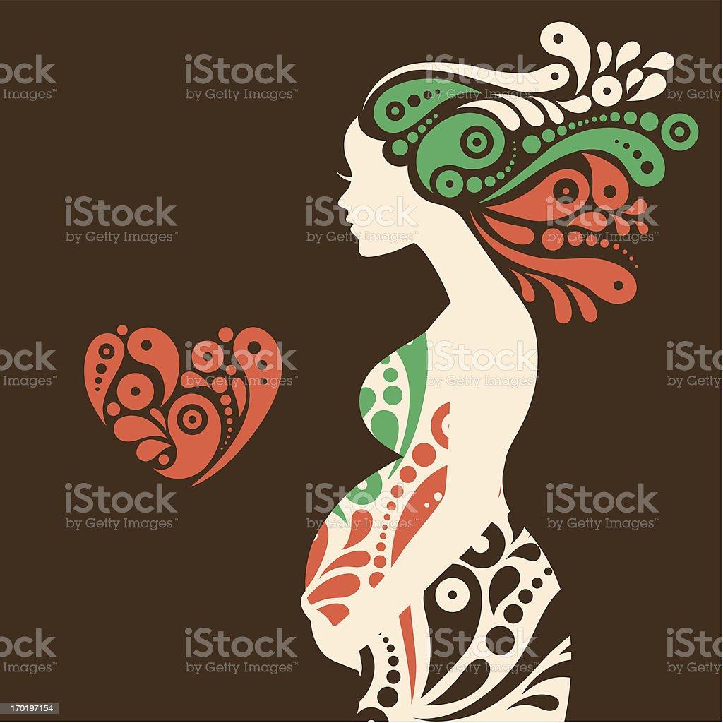 Pregnant woman silhouette vector art illustration