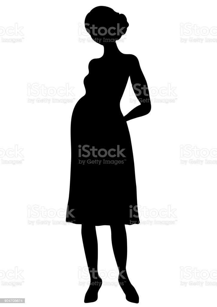 Silhouette De Femme Enceinte Le Contour De Vecteur De Dessin Forme