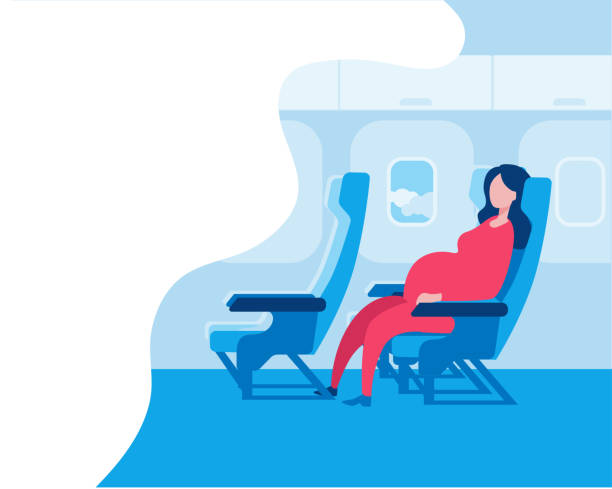 pregnant woman sitting in an airplane seat. - airplane seat stock illustrations