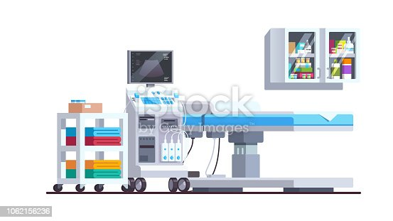 Modern sonography diagnostics and examination office interior. Ultrasound scanner technology. Medical ultrasonography checkup equipment with bed and shelves. Flat style vector isolated illustration