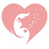 Pregnant woman, stylized vector symbol