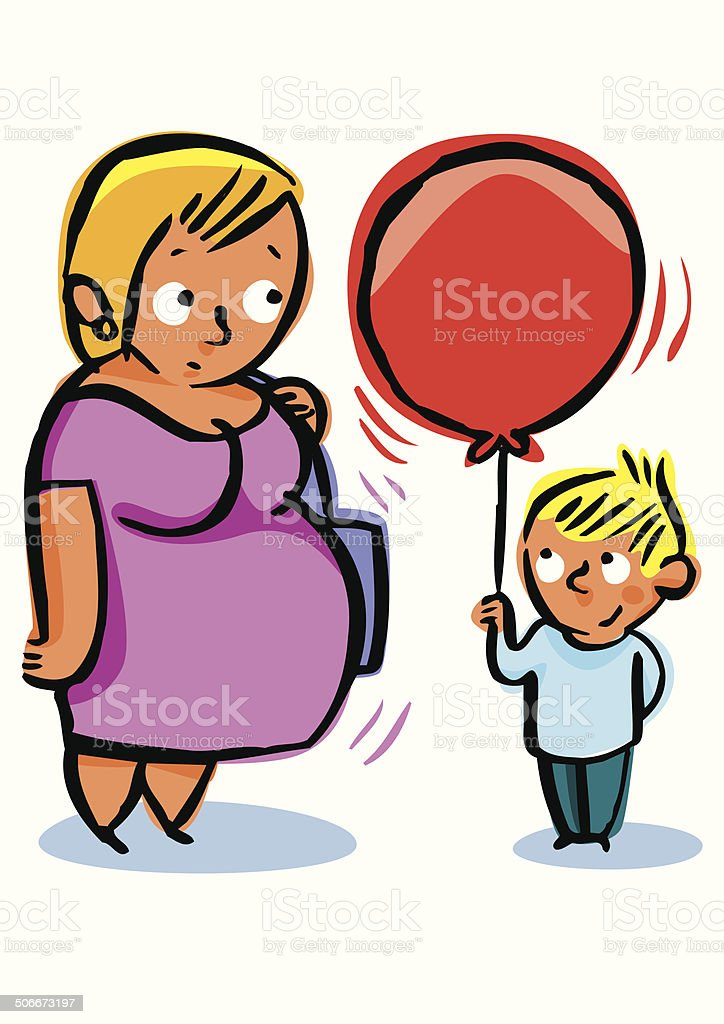 Pregnant woman swollen, looking at a giant balloon vector art illustration