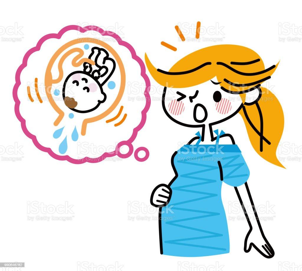 妊娠中の女性はすぐに生まれる。 ベクターアートイラスト