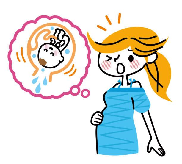 妊娠中の女性はすぐに生まれる。 - 出産点のイラスト素材/クリップアート素材/マンガ素材/アイコン素材