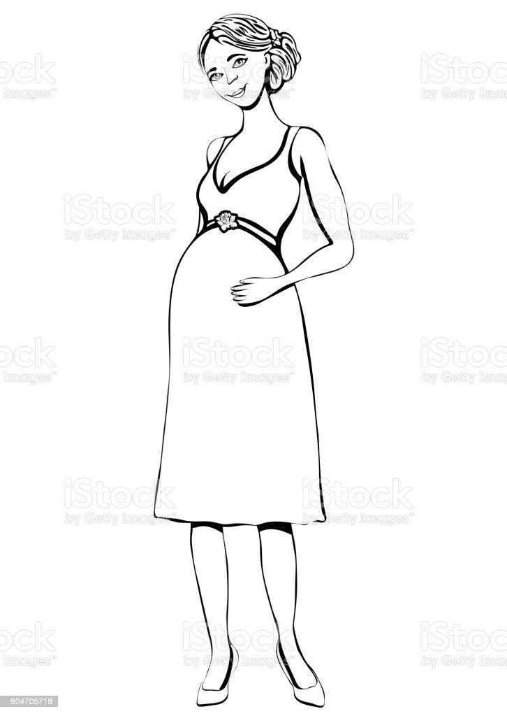 Ilustración de Mujer Embarazada Vector Contorno Mano Dibujo Para ...
