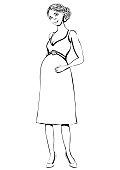 Ilustración De Conjunto De Moda Embarazada Mujer Feliz Mamá