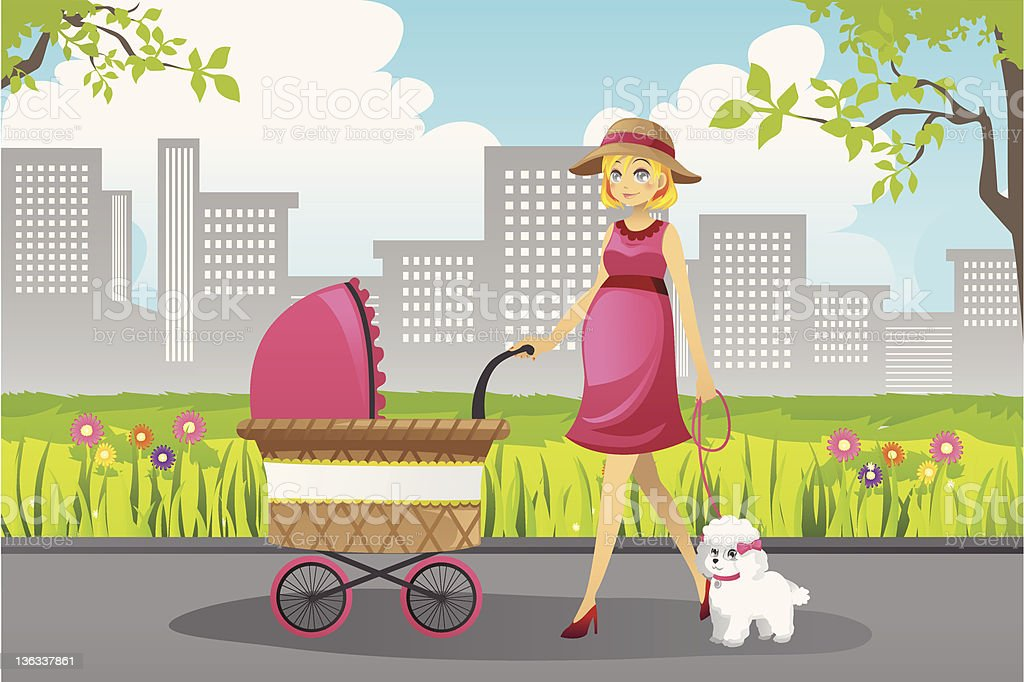 Pregnant woman walking royalty-free stock vector art
